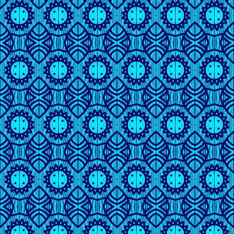 Celestial shields aqua v2 fabric sugar bean spoonflower for Celestial pattern fabric