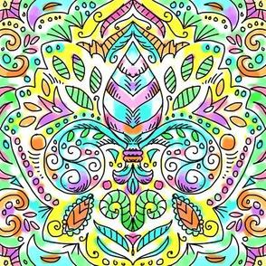 spring watercolor fleur de lis damask