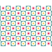 Atomic Blue Tea Towel || midcentury modern atomic stars starburst check checkerboard geometric cut and sew diy kitchen