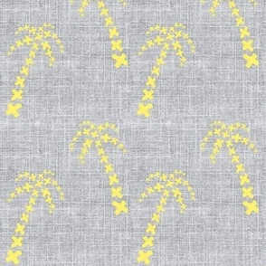 palm trees on linen yellow