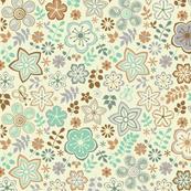 Aqua Retro Floral