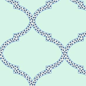 Valencia Trellis in Mint and Navy