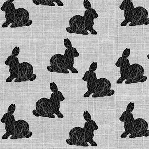 black bunny on linen