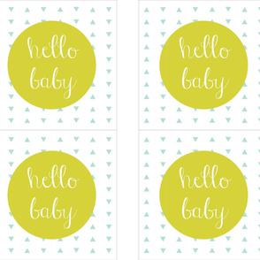 """Hello Baby Citron Aqua Pillow Cover // 18"""""""