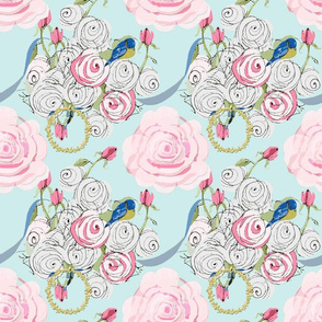 Shabby Chic roses, bluebirds and ribbons on Paris blue