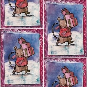 christmas mouse encaustic painting
