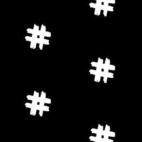 white hashtag on black