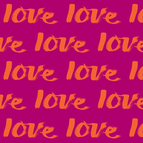 love text orange on purple