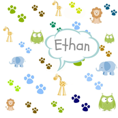 Zoo animals footprints -blues Personalized