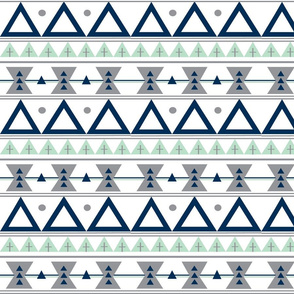 Tribal in Navy, Grey, and Mint - Triangles