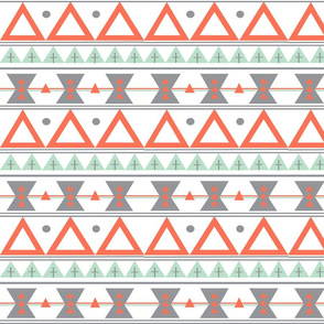 Tribal in Coral, Mint, and Grey - Triangles