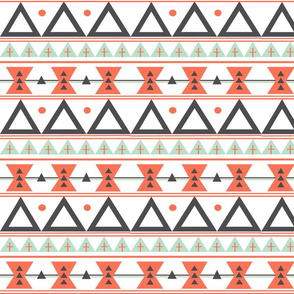 Tribal in Coral, Mint, and Charcoal - Triangles