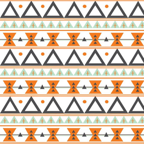 Tribal in Orange, Mint, and Charcoal - Triangles