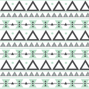Tribal in Mint and Grey - Triangles