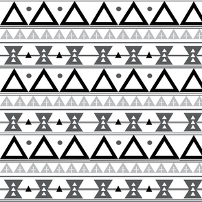 Tribal in Black, Grey, and White - Triangles