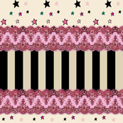 Pink Lace Stripe Border Stars on Cream
