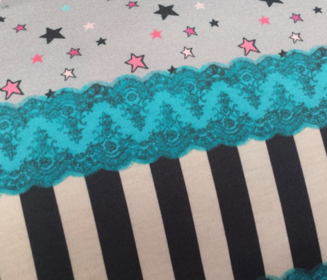 Blue Lace Border Pink Stars on Grey