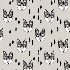 Geometric Fox Head - Greys (Smallest Version) by Andrea Lauren