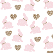 pink bunny gold hearts