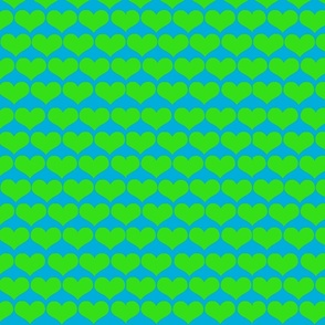 green hearts on blue