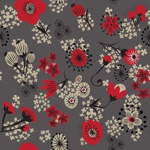 Red Poppies on grey.