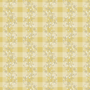 gingham mesh lemon pie gray and white vines_
