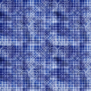 Sapphire Gingham Damask