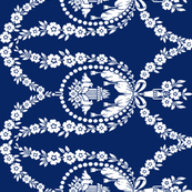 NeoClassical Birds in navy