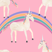 Unicorns & Rainbows on Pink