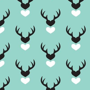 Cute blue scandinavian woodland deer antlers and hearts Valentine love pattern