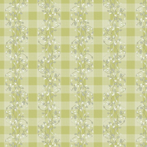gingham mesh lime pie gray and white vines