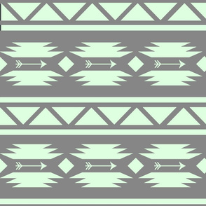 Aztec and Arrows Mint Grey