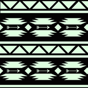 Aztec and Arrows Mint and Black