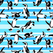 Penguins On Teal Stripes