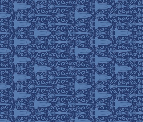 Rocket Science Damask (Navy Rotated)