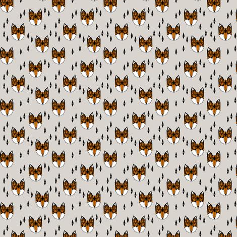 Geometric Fox Head - Light Grey/Rust (Tiny Version) by Andrea Lauren