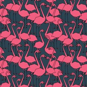 Flamingos - Parisian Blue/Pink (Tiny Version) by Andrea Lauren