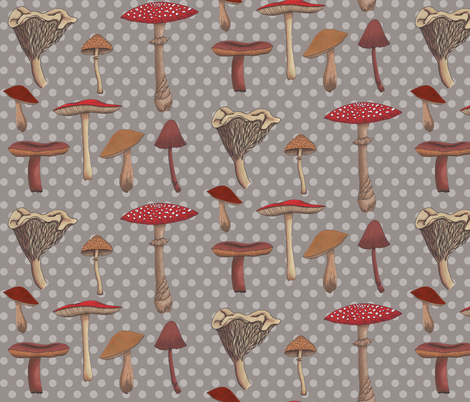 Mushroom Madness Two Polka Dots in Gray