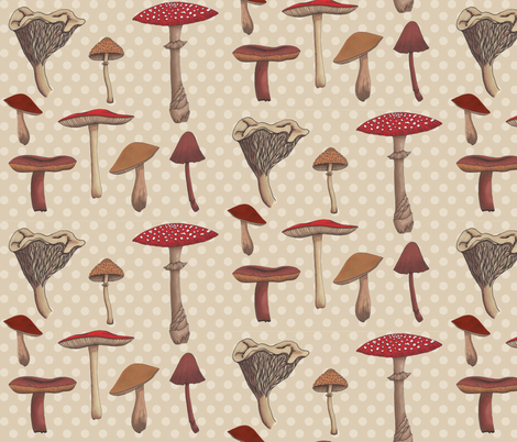 Mushroom Madness Two Polka Dots in Cream
