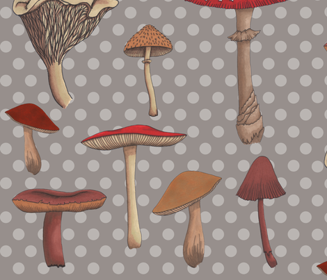 Large Mushroom Madness Two Polka Dots in Gray