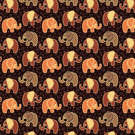 Baby Elephants & Hearts Orange Black