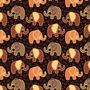 Baby Elephants & Hearts Orange Black