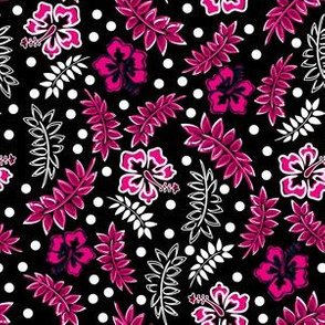 Tropical Hibiscus Pink Black White