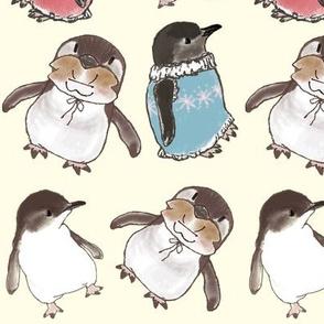 Little Penguins and Kitten