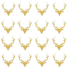 Deer in Gold on White