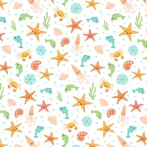 Kawaii sea life pattern with starfish, crabs, fish and seashells