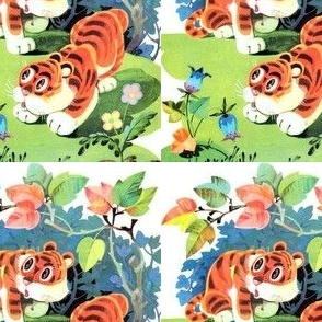vintage retro kitsch tigers forests flowers trees whimsical