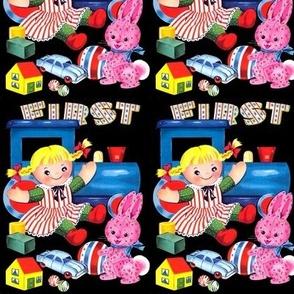 vintage retro kitsch children toys trains dolls building blocks cars houses balls rabbits bunny bunnies whimsical