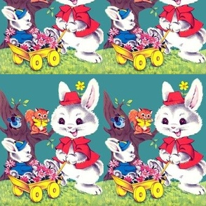 vintage retro kitsch rabbits bunnies bunny birds squirrels chipmunks trees grass flowers gerbera daisy daisies grass countryside trolleys whimsical