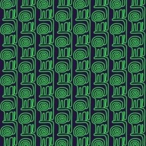 Spiral Lion Green Navy